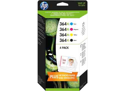 364XL Multipack (4 cartuchos) HP Deskjet-3070-3520-Photosmart-B010-109-11, 1 Tinta Negra + 3 Colores