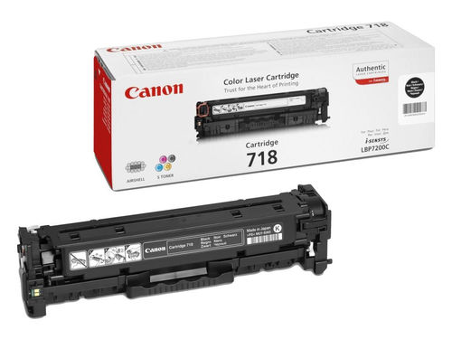 Toner Color Negro Canon Nº 718BK  LBP-7200, 7660, 7680, MF-8330, 8340, 8350, 8360, 8380, 3.400 Págin