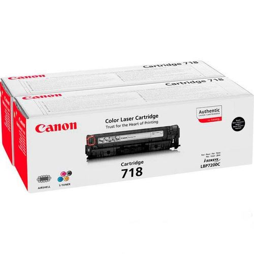Toner Color Negro Canon Nº 718BK2 LBP-7200, 7660, 7680, MF-8330, 8340, 8350, 8360, 8380, 6.800 Págin
